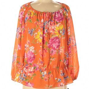 Chaps Womens Floral Long Sleeve Blouse Size Medium